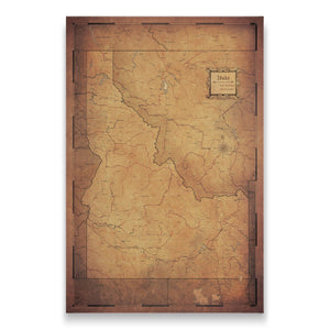 Golden Aged Idaho state map pin board with pushpins