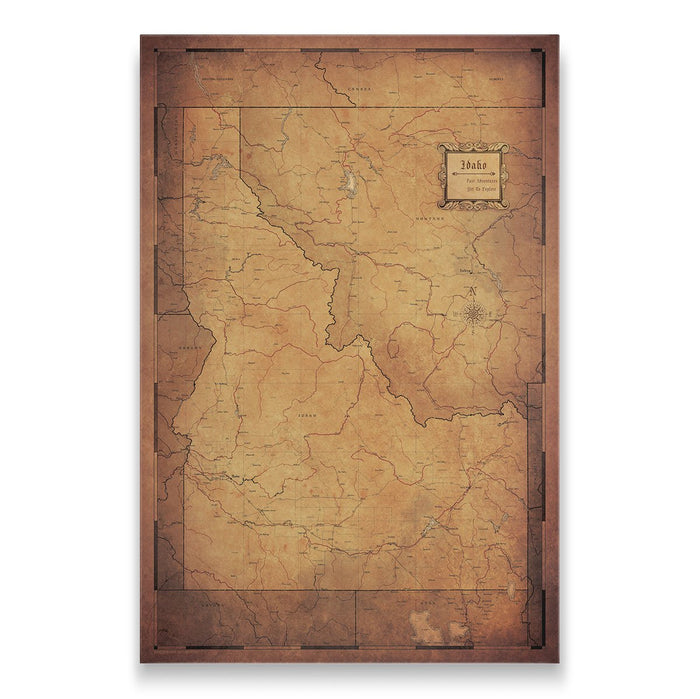 Idaho Travel Map Pin Board w/Push Pins - Golden Aged
