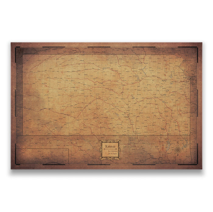 Kansas Travel Map Pin Board w/Push Pins - Golden Aged