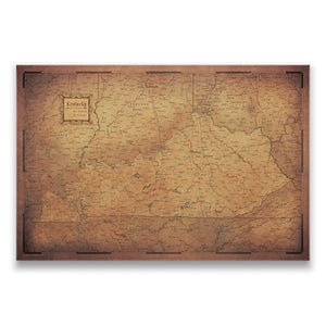 Golden Aged Kentucky state map pin board with pushpins