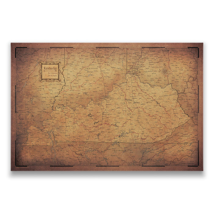 Kentucky Travel Map Pin Board w/Push Pins - Golden Aged