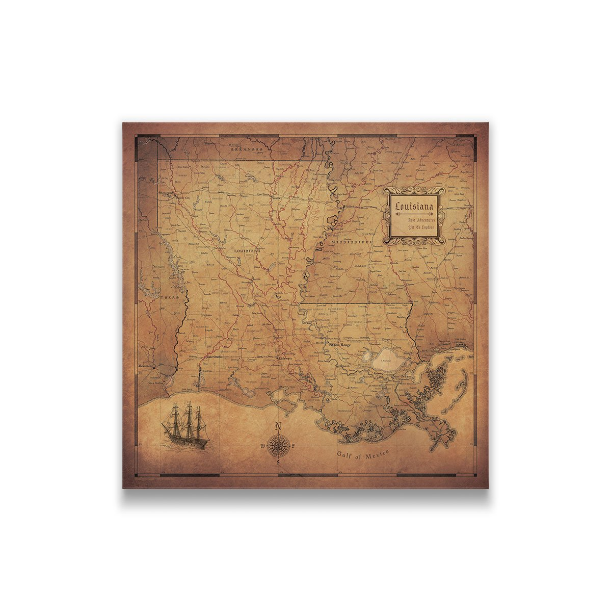 Current Map Of Louisiana.Louisiana Travel Map Pin Board With Push Pins Golden Aged