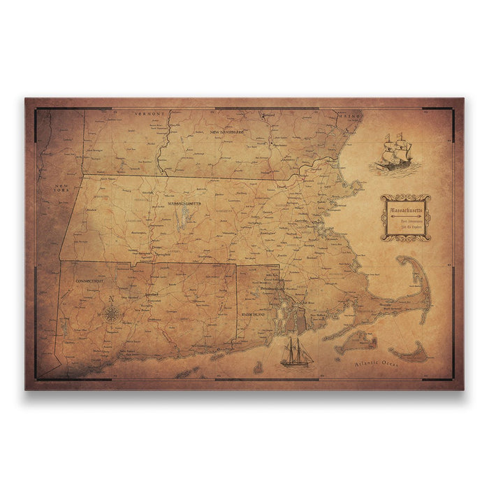 Massachusetts Travel Map Pin Board w/Push Pins - Golden Aged