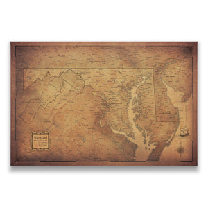 Golden Aged Maryland state map pin board with pushpins