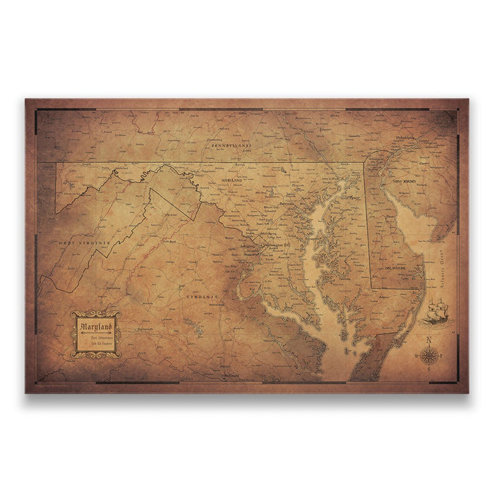 Maryland Travel Map Pin Board w/Push Pins - Golden Aged