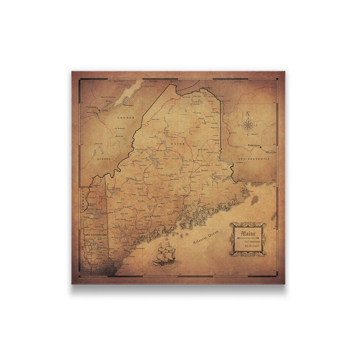 Maine Travel Map Pin Board w/Push Pins - Golden Aged