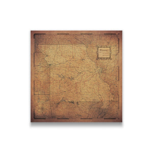 Golden Aged Missouri state map pin board with pushpins
