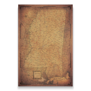 Golden Aged Mississippi state map pin board with pushpins