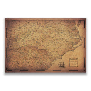 Golden Aged North Carolina state map pin board with pushpins