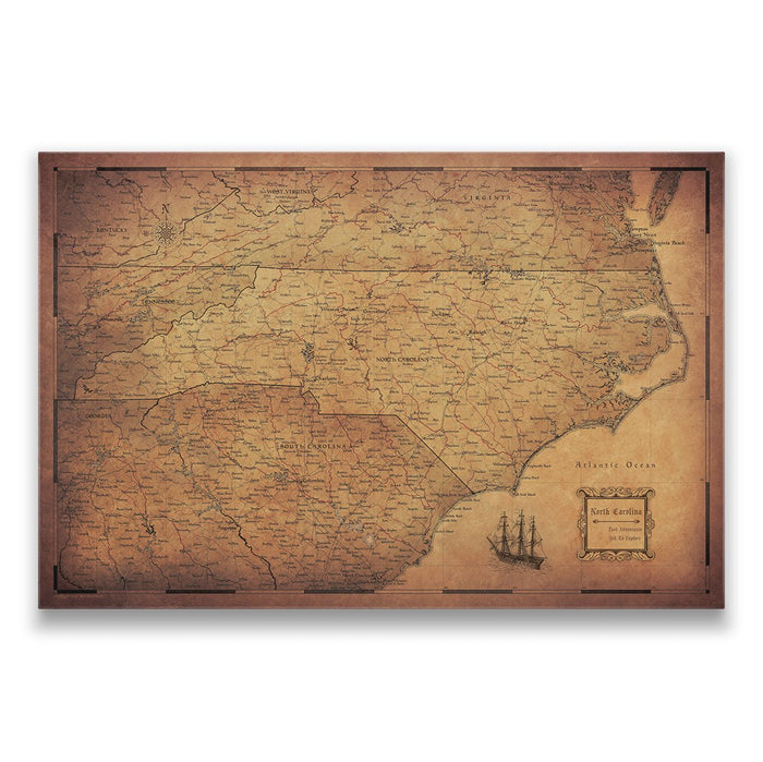 North Carolina Travel Map Pin Board w/Push Pins - Golden Aged