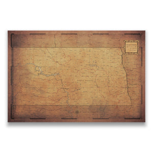 Golden Aged North Dakota state map pin board with pushpins