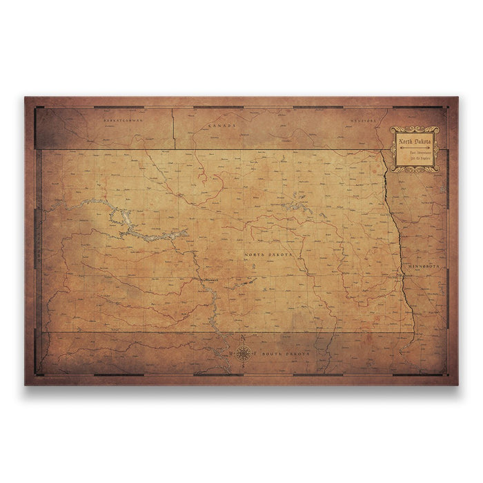 North Dakota Travel Map Pin Board w/Push Pins - Golden Aged