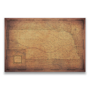 Golden Aged Nebraska state map pin board with pushpins