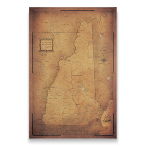 Golden Aged New Hampshire state map pin board with pushpins