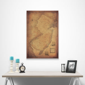New Jersey state map pin board with pushpins