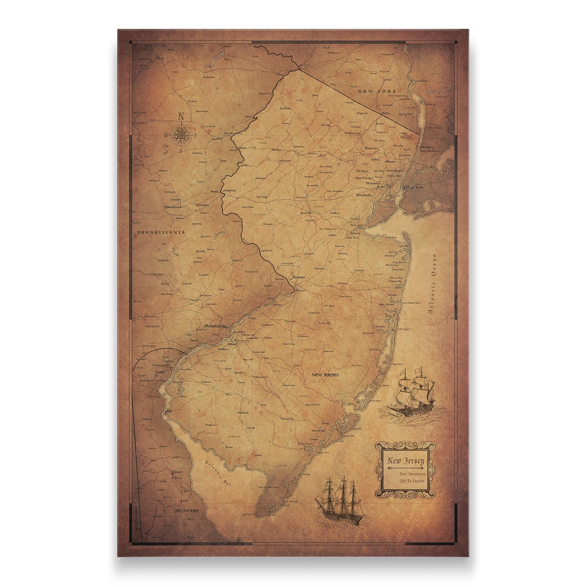 New Jersey Travel Map Pin Board with Push Pins: Golden Aged