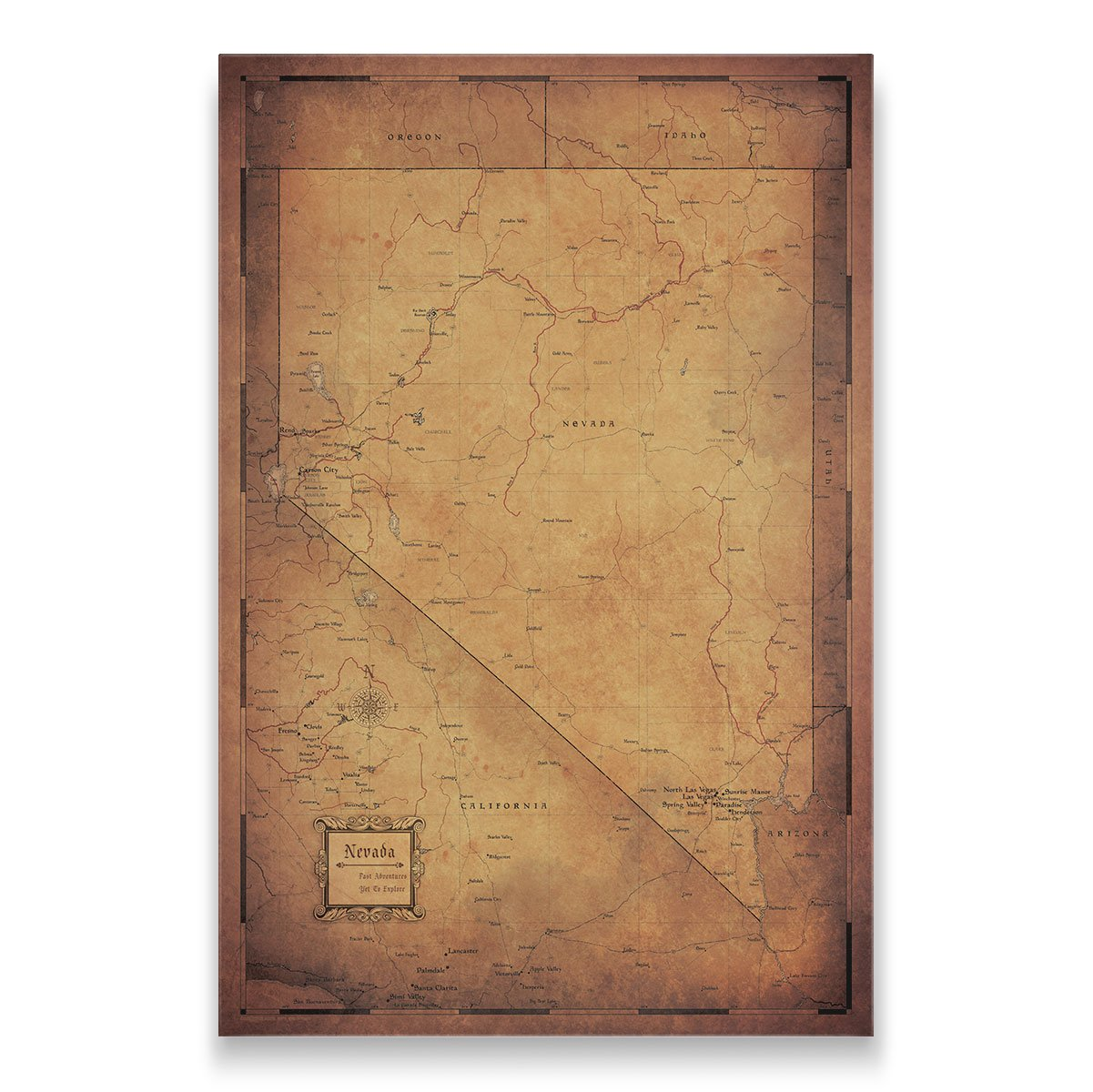 Nevada Travel Map Pin Board w/Push Pins: Golden Aged – Conquest Maps LLC