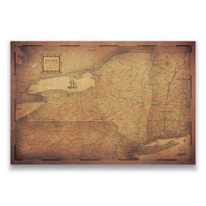 Golden Aged New York state map pin board with pushpins