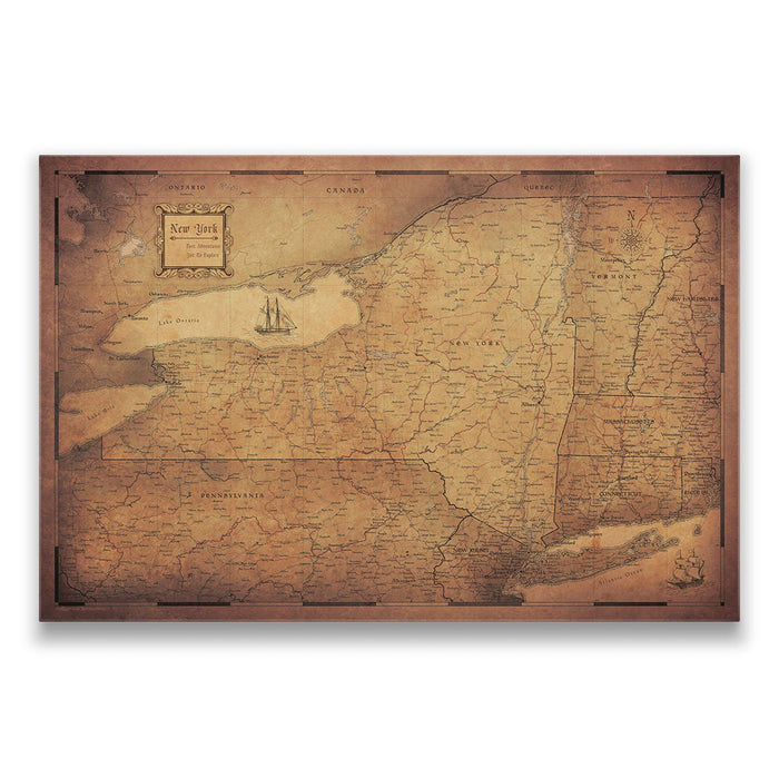 New York Travel Map Pin Board w/Push Pins - Golden Aged