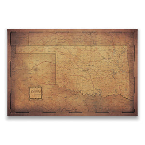 Golden Aged Oklahoma state map pin board with pushpins