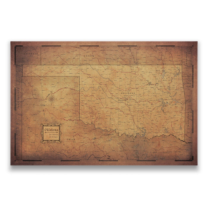 Oklahoma Travel Map Pin Board w/Push Pins - Golden Aged