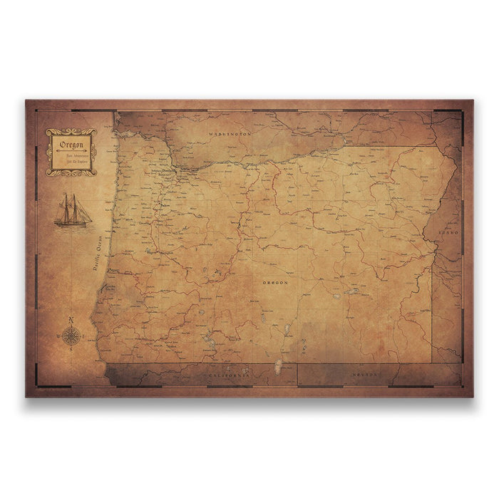 Oregon Travel Map Pin Board w/Push Pins - Golden Aged