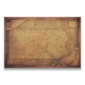 Golden Aged Pennsylvania state map pin board with pushpins