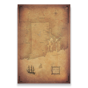 Golden Aged Rhode Island state map pin board with pushpins