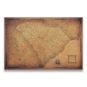 Golden Aged South Carolina state map pin board with pushpins