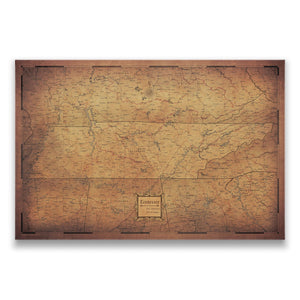 Tennessee state map pin board with pushpins