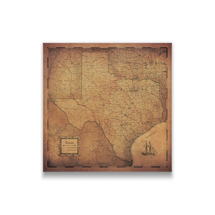 Texas Travel Map Pin Board w/Push Pins - Golden Aged