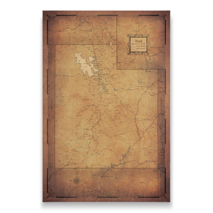 Golden Aged Utah state map pin board with pushpins