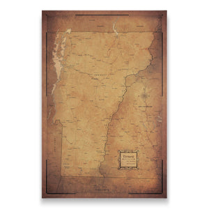 Vermont state map pin board with pushpins