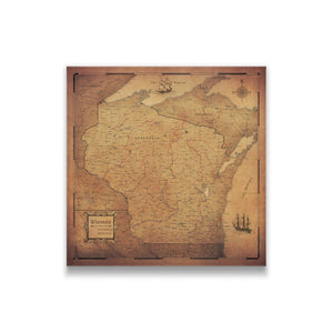 Golden Aged Wisconsin state map pin board with pushpins