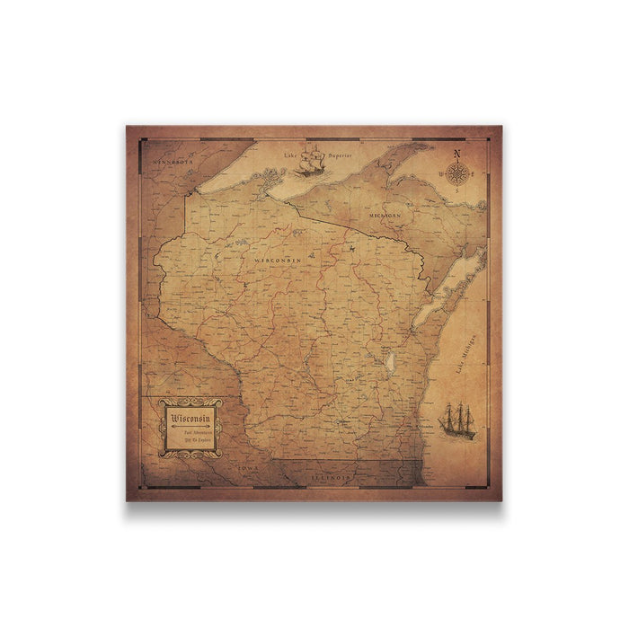 Wisconsin Travel Map Pin Board w/Push Pins - Golden Aged