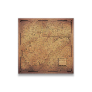 Golden Aged West Virginia state map pin board with pushpins
