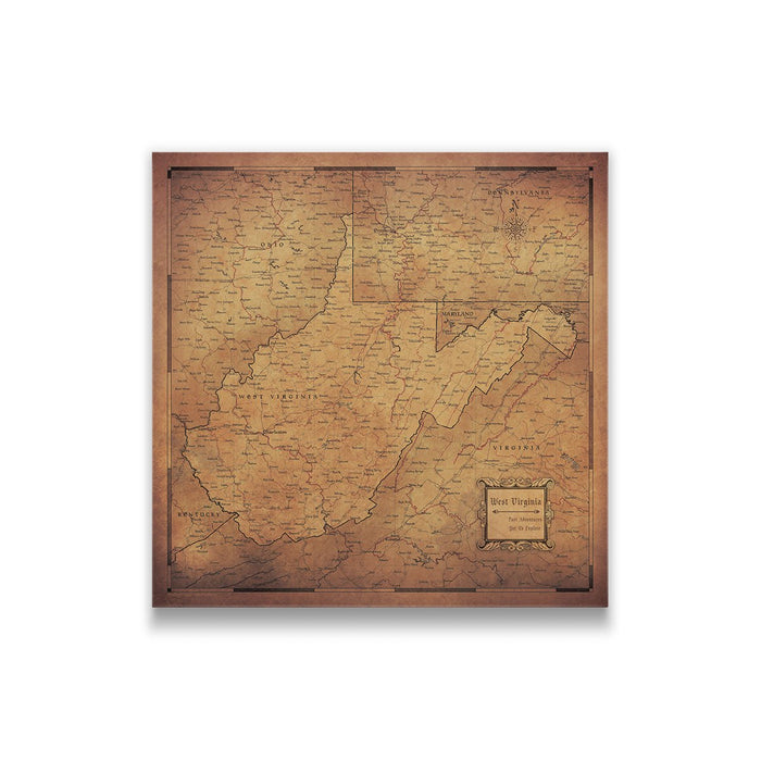 West Virginia Travel Map Pin Board w/Push Pins - Golden Aged