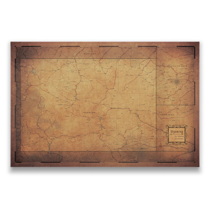 Wyoming Travel Map Pin Board w/Push Pins - Golden Aged