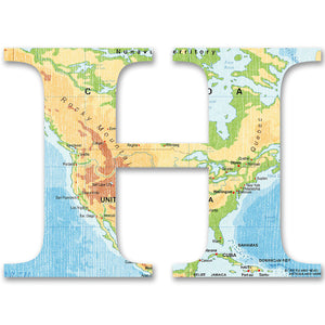 Wood Letters with Color Map Print H
