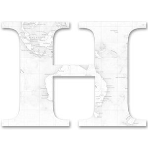 Wood Letters with White Map Print H