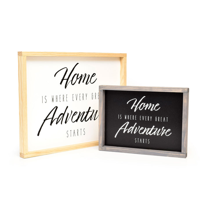Home Is Where Every Great Adventure Starts - Framed Travel Decor Sign