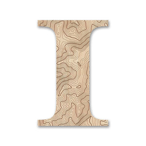 Wood Letters with Laser-Etched Topographic Map I