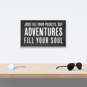 Jobs Fill your pockets Canvas Art over table with flower and sunglasses