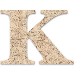 Wood Letters with Laser-Etched Topographic Map K