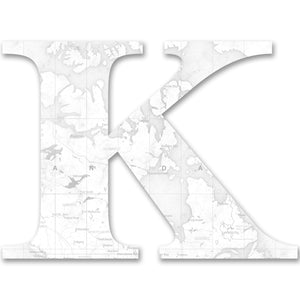 Wood Letters with White Map Print K