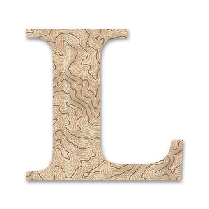Wood Letters with Laser-Etched Topographic Map L