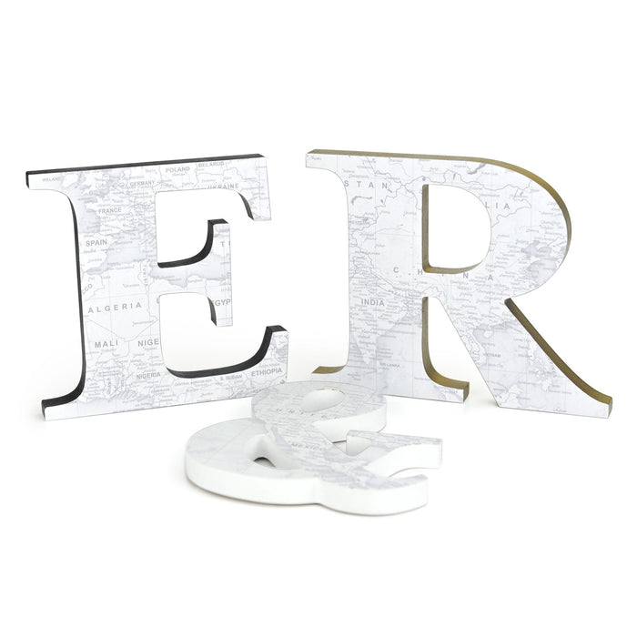 Wood Letters with White Map Print for Hanging or Standing