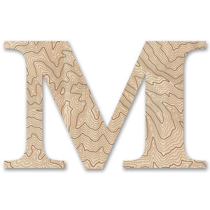 Wood Letters with Laser-Etched Topographic Map M