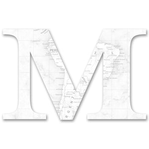 Wood Letters with White Map Print M