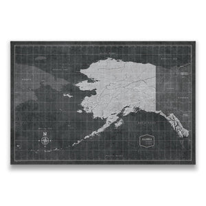 Modern Slate Alaska state map pin board with pushpins